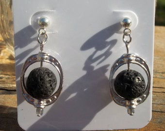Black Lava Bead Diffuser Earrings Aromatherapy Essential Oils