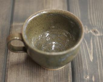 12 oz Mug, Rustic Speckled Green Mug - Coffee, Tea, Latte - Large Cup - Hand Made Pottery - Woodland Inspired - Olive Green Mug - Gift