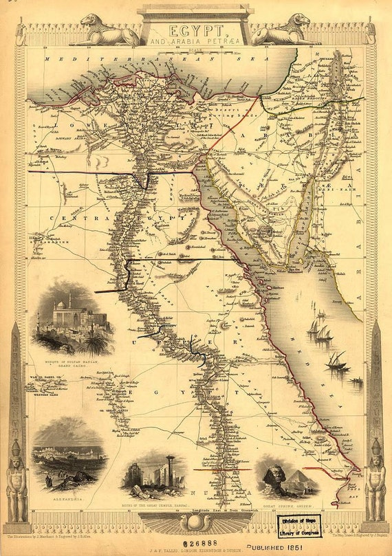 Egypt and arabia 1851 antique world maps old world map gumiabroncs Images
