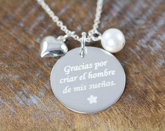 Wedding Jewelry Gifts Spanish Engraved Pendants Necklaces, Gracias por criar el hombre de mis suenos