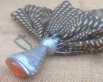Umbrella Collapsible with Faux Amber and Silver color Handle, Vintage