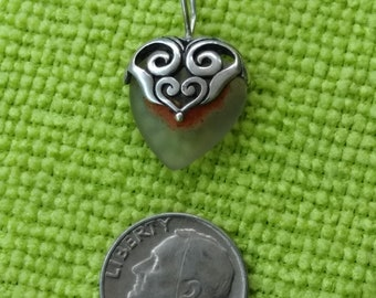 1950 Sterling Silver .925 Heart Pendant with Heart Stone