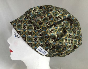 Scrub Hat Bouffant Style Green and Blue with Gold Sparkles