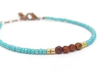 Turquoise Friendship Bracelet, Copper Bracelet, Seed Bead Bracelet, Beaded Bracelet, Minimal Bracelet, Miss Ceces Jewels, Hawaii Jewelry