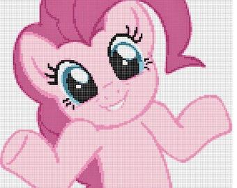 Pink Shrugging Pony PDF Cross-Stitch Pattern Chart Download