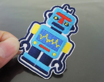 Robot Patches - Iron on Patches or Sewing on Patch Blue Patches Embroidered Patch Robots Embellishment