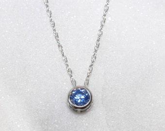 Swarovski Blue Zirconia Sterling Silver Pendant Necklace • Bridesmaid Pendant • Prom Pendant • Gifts for Women •  Dainty Jewellery