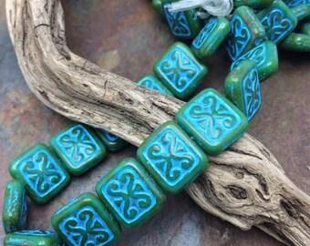 Glazed Chunky Carved 12x11mm Czech Glass Ornamental rectangle beads, 7 pc