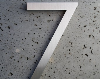 Modern House Numbers Aluminum Modern Font Number Seven  7