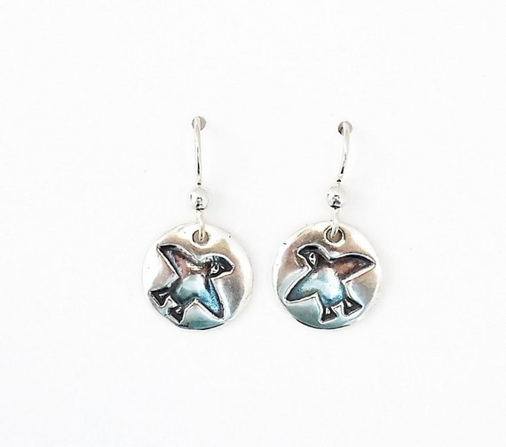 Sterling puffin earrings Northwest jewelry Northeast