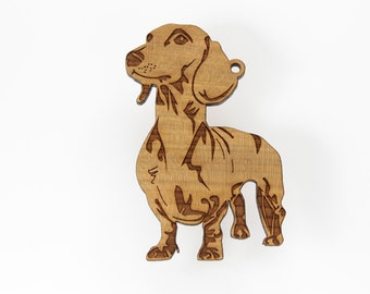 Dachshund Ornament from Timber Green Woods. Personaized with Name Engraving. Made in the U.S.A! - Cherry Wood - (Standing Dachshund)