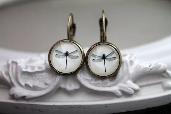 Pretty dragonfly  earrings sweet lolita feminine leverback