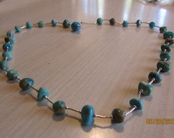 Sterling Liquid Silver Necklace with Turquoise Chunks