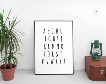 ABC Wall Art, ABC Poster, ABC Chart, Alphabet Poster, Alphabet Print, Kids Wall Art, Kids Room Decor, Kids Wall Decor