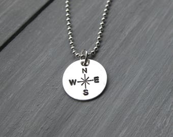 Compass Rose Necklace Sterling Silver Hand Stamped NorthSouth East West Compass Jewelry Directional Necklace Graduation Gift Traveler Gift