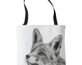 Fox Tote bag, Farmers Market tote, Fox Bag, Farmers Market Bag, Fox Purse, Black and White Tote, Fox Fashion, Fox  Clothing