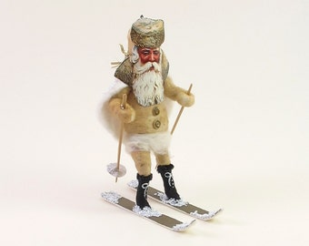 Vintage Inspired Spun Cotton Skiing Santa Ornament/Figure (MADE TO ORDER)
