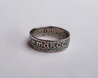 Ring coin 5 francs from Morocco in Silver (coin ring)