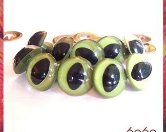 18mm Olive Green Cat Eyes 5 Pairs