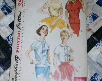 "1950s Vintage Simplicity Pattern 1782 Junior Misses Blouse, Overblouse Size 13 Bust 33"""