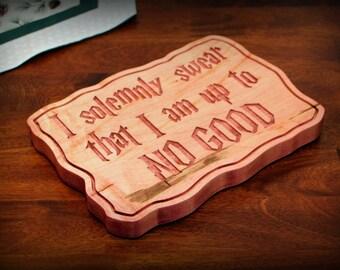"I Solemnly Swear Hardwood Carving (8"" x 11"")"