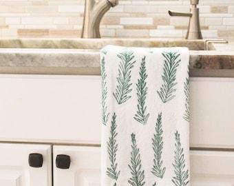 Holiday towel, Hand towel, Pine dish towel, flour sack towel, green, hand printed, hostess gift, gift for her, gift for mom, reusable
