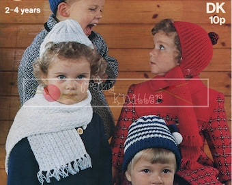 Childrens Helmets Caps Scarves 2-4 years DK Sirdar 3189 Vintage Knitting Pattern PDF instant download