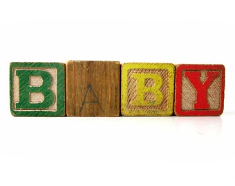 Vintage Letter and Number Wood Blocks - Customized Baby Gift for New Moms & Dads - Rustic School House Nursery Decor