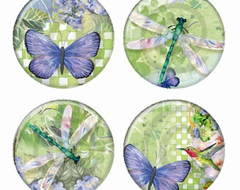 Garden Dragonflies and Butterflies Magnets or Pinback Buttons or Flatback Medallions Set of 4