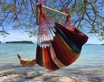 Large Brazilian Hammock Chair - Quality Cotton Weave for Superior Comfort - Vivacious Colors Enhance Home Décor - Use Outdoors or Indoors
