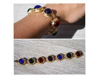 Vintage Link Bracelet // Metal // Gold Tone // Coloured Stones // Statement // Art Deco // 90s
