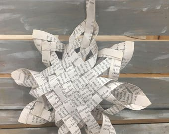 Rustic Book Page Christmas Star