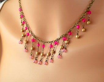 Glass Bib Necklace, Antiqued Brass Chain, Hot Pink Gold Czech Beads, Feminine, Wire Wrapped Jewelry