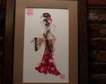 Colorized Framed Shadow Play Puppet, Female shadow play puppet, Oriental Framed Puppet Wall Décor, Morethebuckles
