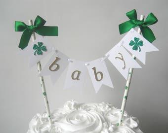 Irish Baby Shower Decor Lucky Baby Shower Decor St. Patrick's Day Baby Shower Shamrock Baby Shower Shamrock Cake Topper Irish Cake Topper