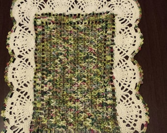 Hand crocheted rectangle hand painted threads READ DESCRIPTION small  crocheted doily