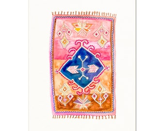 Boho Rug Wall Art. Vintage Pink/Brown Watercolor Rug Painting. Modern Home Decor. Contemporary Art Print. Unique Watercolor Art.