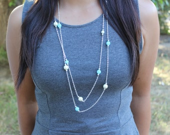 Beaded Pearl and Turquoise Layered Necklace.