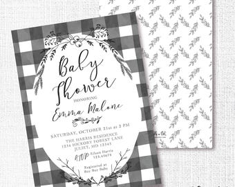 Black white invite etsy black white buffalo check shower invitation filmwisefo