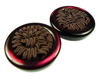 Buttons, thread wine red 2pcs