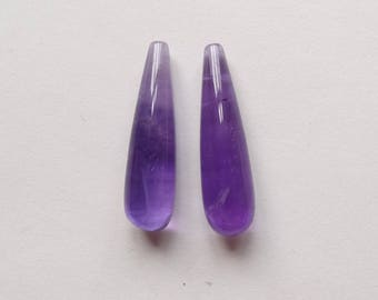 A Grade Purple Amethyst Smooth Half Top drilled Long Teardrops 8x30 mm or 8x40 mm One Pair J7092