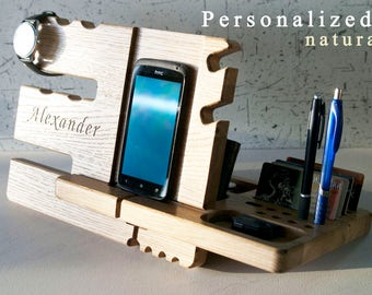 Wooden stand personalize Oak valet  wood iphone dock, apple watch station charger, iphone holder, wood docking station, accessories