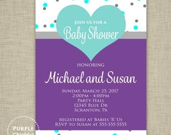 Purple Baby Shower Invite Heart Invitation Girl Birthday Invite Turquoise Aqua Gray Dots Sprinkles Invite 5x7 Printable JPEG 33c