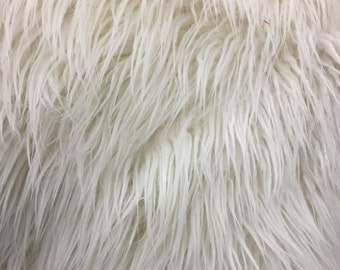 """White Long Pile Mongolian Faux Fur Fabric - Sold By The Yard - 60"""""""