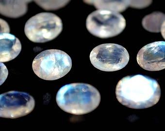 5x7 mm AA Rainbow Moonstone  oval  faceted  - Blue flash  Rainbow Moonstone