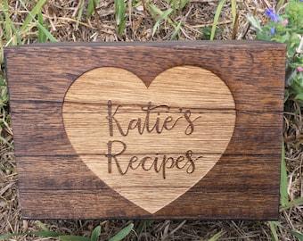 Engraved Recipe box,Monogram Recipe Box,Wood Recipe Box,Shower Gift, Birthday Gift,Christmas Gift, Housewarming Gift, Anniversary Gift