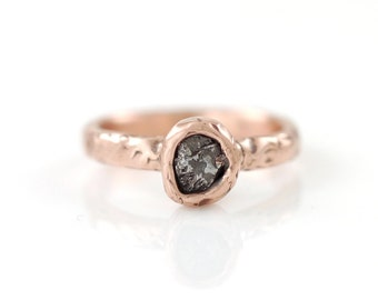 Single Meteorite Ring in 14k Rose Gold - Made to Order