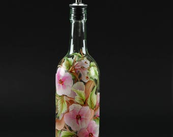 Hand Painted Tall Round Oil Bottle / Apple Blossoms and Branches