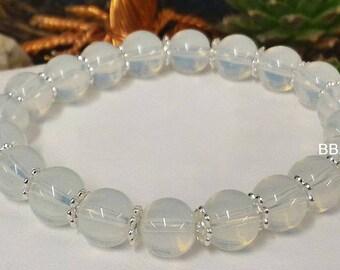 Opalite 8 mm and Tibetan silver separation bracelet