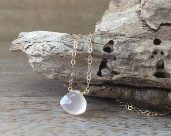 Gold filled Rose Quartz Necklace Heart Chakra Pink Quartz Love Stone Heart Briolette Rose Quartz Jewelry Dainty Necklace Gift for Wife